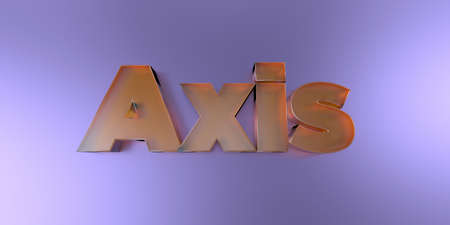 Axis - colorful glass text on vibrant background - 3D rendered royalty free stock image.