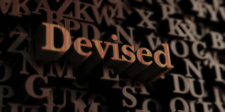 devised: Devised - Wooden 3D rendered lettersmessage.  Can be used for an online banner ad or a print postcard. Stock Photo