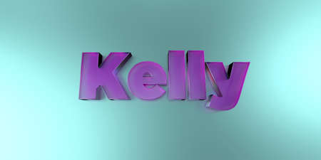 kelly: Kelly - colorful glass text on vibrant background - 3D rendered royalty free stock image. Stock Photo