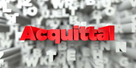 acquittal: Acquittal -  Red text on typography background - 3D rendered royalty free stock image. This image can be used for an online website banner ad or a print postcard.