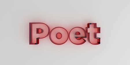 Poet - Red glass text on white background - 3D rendered royalty free stock image.