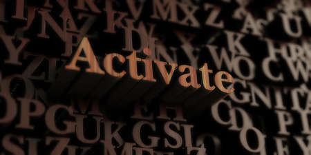 activate: Activate - Wooden 3D rendered lettersmessage.  Can be used for an online banner ad or a print postcard.