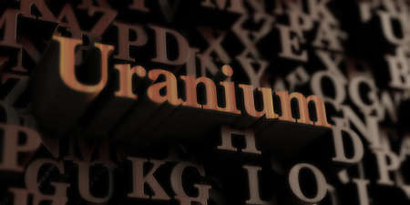 uranium: Uranium - Wooden 3D rendered lettersmessage.  Can be used for an online banner ad or a print postcard.