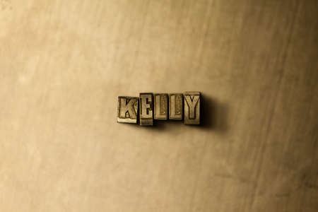 kelly: KELLY - close-up of grungy vintage typeset word on metal backdrop. Royalty free stock illustration.  Can be used for online banner ads and direct mail. Stock Photo