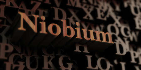 Niobium - Wooden 3D rendered lettersmessage.  Can be used for an online banner ad or a print postcard.
