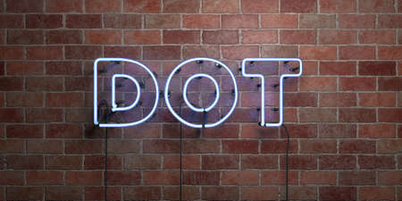 three dots: DOT - fluorescent Neon tube Sign on brickwork - Front view - 3D rendered royalty free stock picture. Can be used for online banner ads and direct mailers. Stock Photo