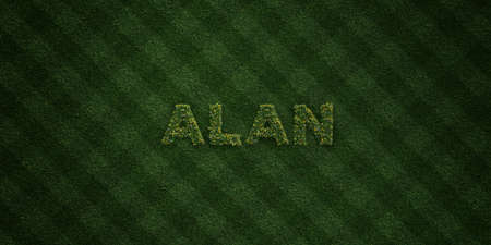 ALAN - fresh Grass letters with flowers and dandelions - 3D rendered royalty free stock image. Can be used for online banner ads and direct mailers.