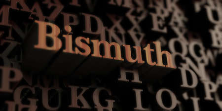 bismuth: Bismuth - Wooden 3D rendered lettersmessage.  Can be used for an online banner ad or a print postcard. Stock Photo