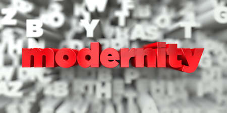 modernity -  Red text on typography background - 3D rendered royalty free stock image. This image can be used for an online website banner ad or a print postcard. Stock Photo