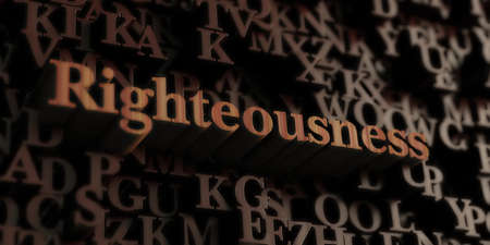 righteousness: Righteousness - Wooden 3D rendered lettersmessage.  Can be used for an online banner ad or a print postcard.