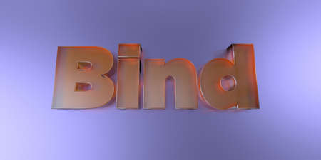 royalty free: Bind - colorful glass text on vibrant background - 3D rendered royalty free stock image.