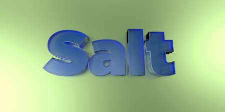 Salt - colorful glass text on vibrant background - 3D rendered royalty free stock image.