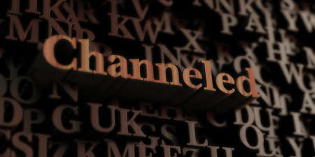 channeled: Channeled - Wooden 3D rendered lettersmessage.  Can be used for an online banner ad or a print postcard. Stock Photo