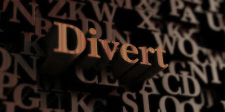 Divert - Wooden 3D rendered lettersmessage.  Can be used for an online banner ad or a print postcard. Stock Photo