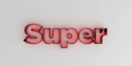 royalty free: Super - Red glass text on white background - 3D rendered royalty free stock image.