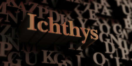 ichthys: Ichthys - Wooden 3D rendered lettersmessage.  Can be used for an online banner ad or a print postcard. Stock Photo
