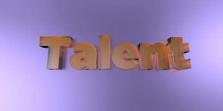 Talent - colorful glass text on vibrant background - 3D rendered royalty free stock image.