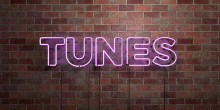 TUNES - fluorescent Neon tube Sign on brickwork - Front view - 3D rendered royalty free stock picture. Can be used for online banner ads and direct mailers.