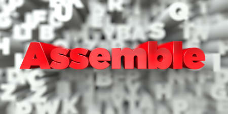 Assemble -  Red text on typography background - 3D rendered royalty free stock image. This image can be used for an online website banner ad or a print postcard. Stock Photo