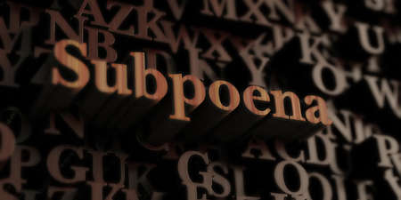 subpoena: Subpoena - Wooden 3D rendered lettersmessage.  Can be used for an online banner ad or a print postcard. Stock Photo