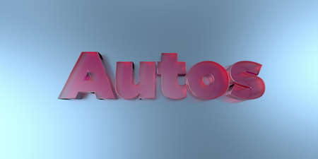 Autos - colorful glass text on vibrant background - 3D rendered royalty free stock image. Stock Photo