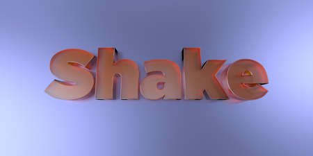 Shake - colorful glass text on vibrant background - 3D rendered royalty free stock image. Stock Photo
