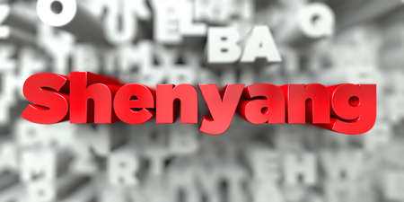 Shenyang -  Red text on typography background - 3D rendered royalty free stock image. This image can be used for an online website banner ad or a print postcard. Stock Photo