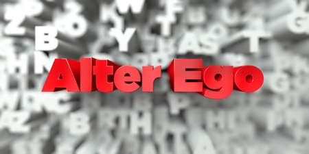 Alter Ego -  Red text on typography background - 3D rendered royalty free stock image. This image can be used for an online website banner ad or a print postcard.