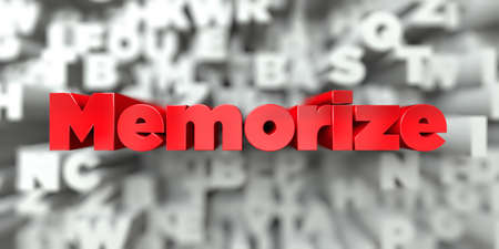 Memorize -  Red text on typography background - 3D rendered royalty free stock image. This image can be used for an online website banner ad or a print postcard.