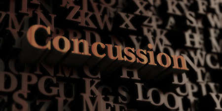 concussion: concussion - Wooden 3D rendered lettersmessage.  Can be used for an online banner ad or a print postcard.
