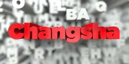 Changsha -  Red text on typography background - 3D rendered royalty free stock image. This image can be used for an online website banner ad or a print postcard. Stock Photo