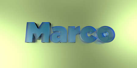 marco: Marco - colorful glass text on vibrant background - 3D rendered royalty free stock image.