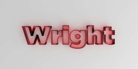 Wright - Red glass text on white background - 3D rendered royalty free stock image.
