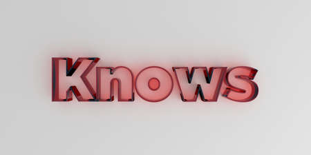 knows: Knows - Red glass text on white background - 3D rendered royalty free stock image. Stock Photo