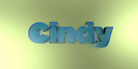 Cindy - colorful glass text on vibrant background - 3D rendered royalty free stock image.