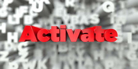 Activate -  Red text on typography background - 3D rendered royalty free stock image. This image can be used for an online website banner ad or a print postcard. Stock Photo