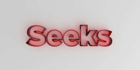 seeks: Seeks - Red glass text on white background - 3D rendered royalty free stock image.