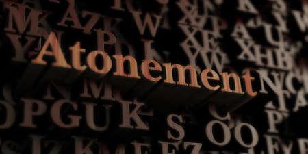 속죄 - 목조 3D 렌더링 편지  메시지. 온라인 배너 광고 또는 인쇄 엽서에 사용할 수 있습니다. 스톡 콘텐츠