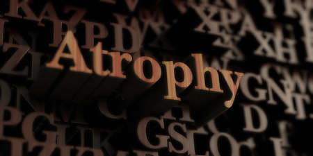 atrophy: Atrophy - Wooden 3D rendered lettersmessage.  Can be used for an online banner ad or a print postcard.
