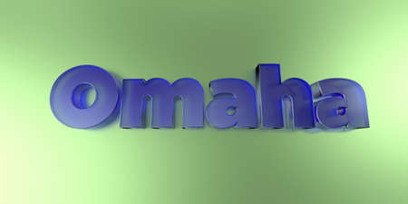 royalty free: Omaha - colorful glass text on vibrant background - 3D rendered royalty free stock image. Stock Photo