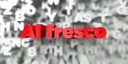 Al fresco -  Red text on typography background - 3D rendered royalty free stock image. This image can be used for an online website banner ad or a print postcard. Stock Photo