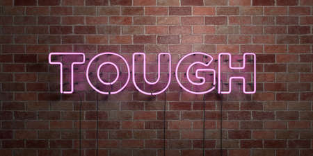 tough: TOUGH - fluorescent Neon tube Sign on brickwork - Front view - 3D rendered royalty free stock picture. Can be used for online banner ads and direct mailers.