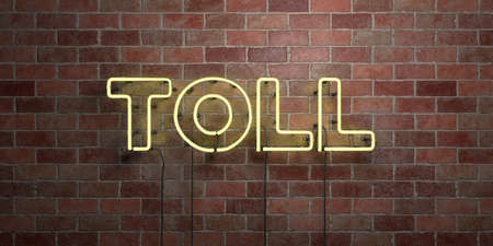 toll free: TOLL - fluorescent Neon tube Sign on brickwork - Front view - 3D rendered royalty free stock picture. Can be used for online banner ads and direct mailers. Stock Photo