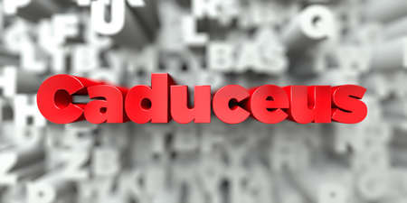 Caduceus -  Red text on typography background - 3D rendered royalty free stock image. This image can be used for an online website banner ad or a print postcard.