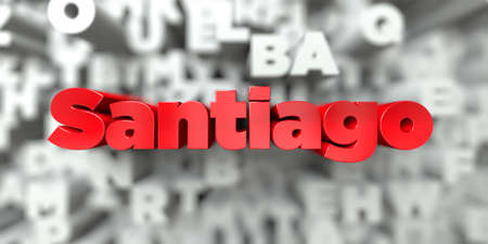 Santiago -  Red text on typography background - 3D rendered royalty free stock image. This image can be used for an online website banner ad or a print postcard.