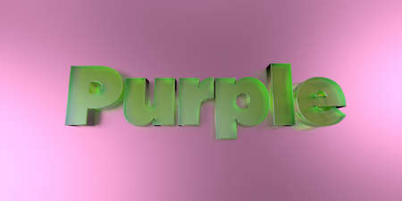 Purple - colorful glass text on vibrant background - 3D rendered royalty free stock image.