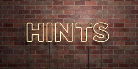 hints: HINTS - fluorescent Neon tube Sign on brickwork - Front view - 3D rendered royalty free stock picture. Can be used for online banner ads and direct mailers.