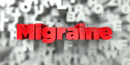 free image: Migraine -  Red text on typography background - 3D rendered royalty free stock image. This image can be used for an online website banner ad or a print postcard.