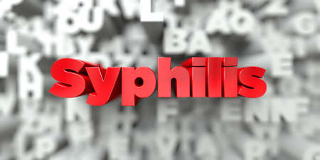 syphilis: Syphilis -  Red text on typography background - 3D rendered royalty free stock image. This image can be used for an online website banner ad or a print postcard. Stock Photo