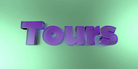 royalty free: Tours - colorful glass text on vibrant background - 3D rendered royalty free stock image.